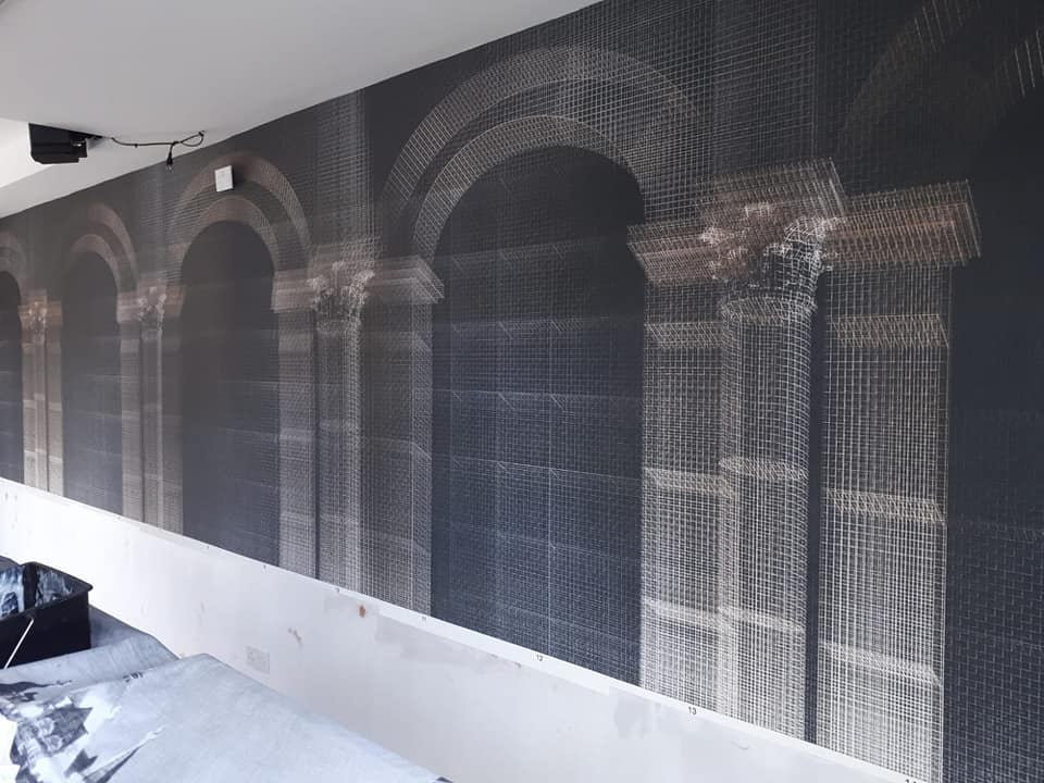 commercial interior decoration wallpaper murel restaurant in worthing